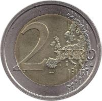 reverse of 2 Euro - Human Rights (2008) coin with KM# 301 from Italy. Inscription: 2 EURO LL