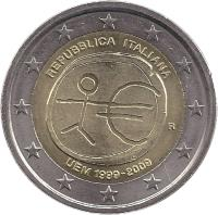 obverse of 2 Euro - 10 Years of EMU (2009) coin with KM# 312 from Italy. Inscription: REPUBBLICA ITALIANA UEM 1999-2009 R