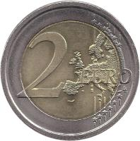 reverse of 2 Euro - 10 Years of EMU (2009) coin with KM# 312 from Italy. Inscription: 2 EURO LL