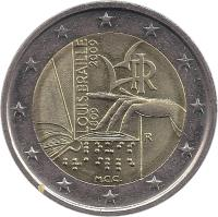 obverse of 2 Euro - Louis Braille (2009) coin with KM# 310 from Italy. Inscription: LOUIS BRAILLE 1809-2009 RI R M.C.C.