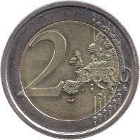 reverse of 2 Euro - Louis Braille (2009) coin with KM# 310 from Italy. Inscription: 2 EURO