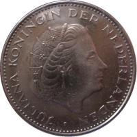 obverse of 2 1/2 Gulden - Juliana (1969 - 1980) coin with KM# 191 from Netherlands. Inscription: JULIANA KONINGIN DER NEDERLANDEN