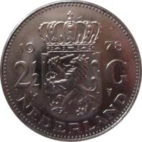 reverse of 2 1/2 Gulden - Juliana (1969 - 1980) coin with KM# 191 from Netherlands. Inscription: 19 71 2 1/2 G NEDERLAND