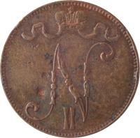 obverse of 5 Penniä - Nicholas II (1896 - 1917) coin with KM# 15 from Finland. Inscription: N II