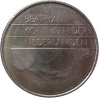 obverse of 2 1/2 Gulden - Beatrix (1982 - 2001) coin with KM# 206 from Netherlands. Inscription: BEATRIX KONINGIN DER NEDERLANDEN