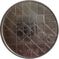 reverse of 2 1/2 Gulden - Beatrix (1982 - 2001) coin with KM# 206 from Netherlands. Inscription: 2 1/2 G 1983