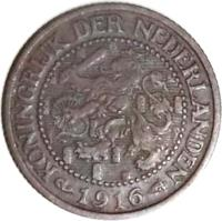 obverse of 2 1/2 Cents - Wilhelmina (1912 - 1941) coin with KM# 150 from Netherlands. Inscription: KONINGRIJK DER NEDERLANDEN 1912