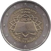 obverse of 2 Euro - Beatrix - Treaty of Rome (2007) coin with KM# 273 from Netherlands. Inscription: VERDRAG VAN ROME 50 JAAR EUROPA 2007 KONINKRIJK DER NEDERLANDEN
