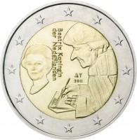 obverse of 2 Euro - Beatrix - Erasmus (2011) coin with KM# 298 from Netherlands. Inscription: Beatrix Koningin der Nederlanden 2011