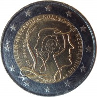 obverse of 2 Euro - Willem-Alexander - 200 years of the Kingdom (2013) coin with KM# 324 from Netherlands. Inscription: WILLEM-ALEXANDER KONING DER NEDERLANDEN 200 JAAR KONINKRIJK 2013