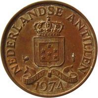 obverse of 2 1/2 Cents - Juliana (1970 - 1978) coin with KM# 9 from Netherlands Antilles. Inscription: NEDERLANDSE ANTILLEN 1971 LIBERTATE UNANIMUS