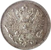 obverse of 25 Penniä - Alexander II / Nicholas II - With crown (1865 - 1917) coin with KM# 6 from Finland.