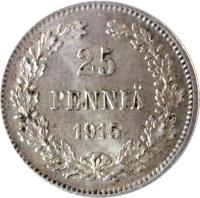 reverse of 25 Penniä - Alexander II / Nicholas II - With crown (1865 - 1917) coin with KM# 6 from Finland. Inscription: 25 PENNIÄ 1915