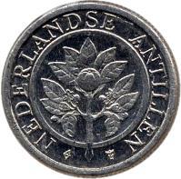 obverse of 1 Cent - Beatrix (1989 - 2014) coin with KM# 32 from Netherlands Antilles. Inscription: NEDERLANDSE ANTILLEN