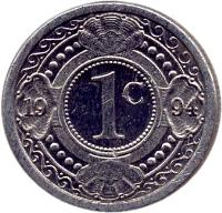 reverse of 1 Cent - Beatrix (1989 - 2014) coin with KM# 32 from Netherlands Antilles. Inscription: 20 1c 03