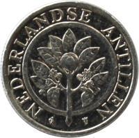 obverse of 5 Cents - Beatrix (1989 - 2014) coin with KM# 33 from Netherlands Antilles. Inscription: NEDERLANDSE ANTILLEN