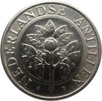 obverse of 10 Cents - Beatrix (1989 - 2014) coin with KM# 34 from Netherlands Antilles. Inscription: NEDERLANDSE ANTILLEN