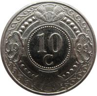 reverse of 10 Cents - Beatrix (1989 - 2014) coin with KM# 34 from Netherlands Antilles. Inscription: 10 c 19 93
