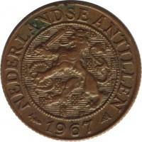 obverse of 1 Cent - Juliana (1952 - 1970) coin with KM# 1 from Netherlands Antilles. Inscription: NEDERLANDSE ANTILLEN 1967