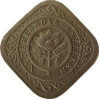 obverse of 5 Cents - Juliana (1957 - 1970) coin with KM# 6 from Netherlands Antilles. Inscription: NEDERLANDSE ANTILLEN
