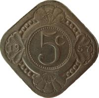 reverse of 5 Cents - Juliana (1957 - 1970) coin with KM# 6 from Netherlands Antilles. Inscription: 5c