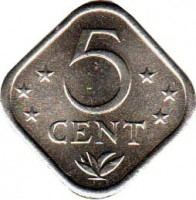 reverse of 5 Cents - Juliana (1971 - 1985) coin with KM# 13 from Netherlands Antilles. Inscription: 5 CENT