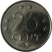 reverse of 25 Cents - Juliana (1970 - 1985) coin with KM# 11 from Netherlands Antilles. Inscription: 25 CENT
