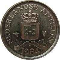 obverse of 10 Cents - Juliana (1970 - 1985) coin with KM# 10 from Netherlands Antilles. Inscription: NEDERLANDSE ANTILLEN LIBERTATE UNANIMUS 1985