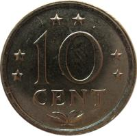 reverse of 10 Cents - Juliana (1970 - 1985) coin with KM# 10 from Netherlands Antilles. Inscription: 10 CENT