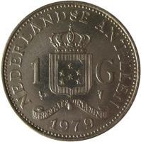 reverse of 1 Gulden - Juliana (1970 - 1980) coin with KM# 12 from Netherlands Antilles. Inscription: NEDERLANDSE ANTILLEN 1 G LIBERTATE UNANIMUS 1971