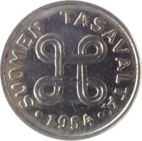 obverse of 1 Markka (1953 - 1962) coin with KM# 36a from Finland. Inscription: SUOMEN TASAVALTA 1958
