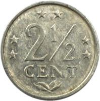 reverse of 2 1/2 Cents - Juliana (1979 - 1985) coin with KM# 9a from Netherlands Antilles. Inscription: 2 1/2 cent