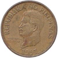obverse of 50 Sentimo (1991 - 1994) coin with KM# 242.3 from Philippines. Inscription: REPUBLIKA NG PILIPINAS MARCELO H DEL PILAR 1993