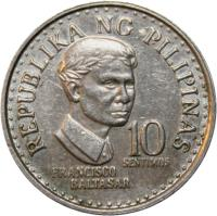 reverse of 10 Sentimos (1975 - 1978) coin with KM# 207 from Philippines. Inscription: REPUBLIKA NG PILIPINAS FRANCISCO BALTASAR 10 SENTIMOS
