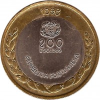 obverse of 200 Escudos - Expo '98 (1998) coin with KM# 706 from Portugal. Inscription: 1998 200 ESCUDOS REPUBLICA PORTUGUESA DES. 7S GRAV.