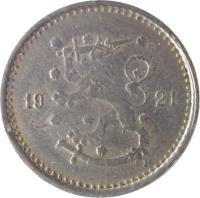 obverse of 50 Penniä (1921 - 1940) coin with KM# 26 from Finland. Inscription: 19 34