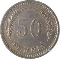 reverse of 50 Penniä (1921 - 1940) coin with KM# 26 from Finland. Inscription: 50 PENNIÄ