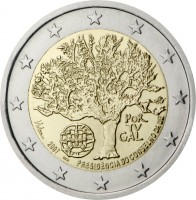 obverse of 2 Euro - Council of the EU (2007) coin with KM# 772 from Portugal. Inscription: POR TV GAL 2007 INCM PRESIDÊNCIA DO CONSELHO DA U.E.