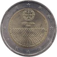 obverse of 2 Euro - Human Rights (2008) coin with KM# 784 from Portugal. Inscription: PORTUGAL 2008 60 ANOS DA DECLARAÇÃO UNIVERSAL DOS DIREITOS HUMANOS Esc. J. Duarte INCM