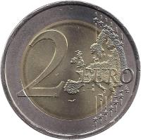 reverse of 2 Euro - Human Rights (2008) coin with KM# 784 from Portugal. Inscription: 2 EURO LL