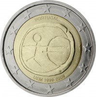 obverse of 2 Euro - 10 Years of EMU (2009) coin with KM# 785 from Portugal. Inscription: PORTUGAL INCM UEM 1999-2009