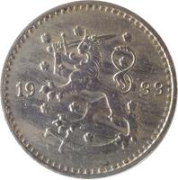 obverse of 1 Markka (1928 - 1940) coin with KM# 30 from Finland. Inscription: 19 30