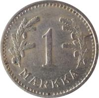 reverse of 1 Markka (1928 - 1940) coin with KM# 30 from Finland. Inscription: 1 MARKKA