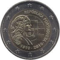 obverse of 2 Euro - Portuguese Republic (2010) coin with KM# 796 from Portugal. Inscription: REPÚBLICA PORTUGUESA 1910 · 2010 · INCM JOSÉ CÂNDIDO