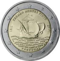 obverse of 2 Euro - Fernão Mendes Pinto (2011) coin with KM# 804 from Portugal. Inscription: FERNÃO MENDES PINTO 1511 2011 PORTUGAL INCM IC-FB PORTUGAL INDIA DIU GOA BIRMANIA PEREGRINÄÇO PEREGRINÄÇO TARTÁRIA CHINA MALACA ORMUZ SONDA NACAU PATANE SIÄO CAMB