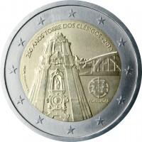 obverse of 2 Euro - 250th Anniversary of Oporto Clérigos Tower (2013) coin with KM# 848 from Portugal. Inscription: 250 ANOS TORRE DOS CLÉRIGOS - 2013 INCM HUGO MACIEL PORTUGAL