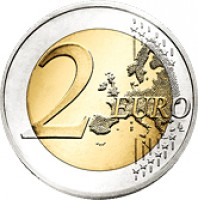 reverse of 2 Euro - 250th Anniversary of Oporto Clérigos Tower (2013) coin with KM# 848 from Portugal. Inscription: 2 EURO LL