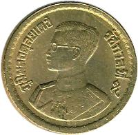 obverse of 5 Satang - Rama IX (1957) coin with Y# 78 from Thailand.