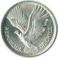 obverse of 10 Pesos / 1 Condor (1956 - 1959) coin with KM# 181 from Chile. Inscription: REPUBLICA DE CHILE
