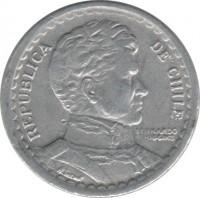 obverse of 1 Peso (1954 - 1958) coin with KM# 179a from Chile. Inscription: REPUBLICA DE CHILE BERNARDO O'HIGGINS
